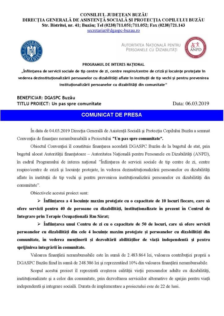 Comunicat de presa DGASPC Buzau Un pas spre comunitate